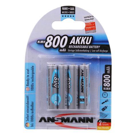 Ansmann AAA 800mAh Max e rechargeable NiMh Batteries - Pack 4