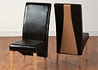 Bicast Leather & Microsuede Chairs - Pair