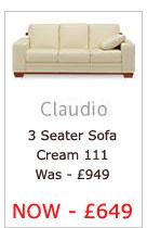 Claudio Three Seater Sofa (Cream 111)