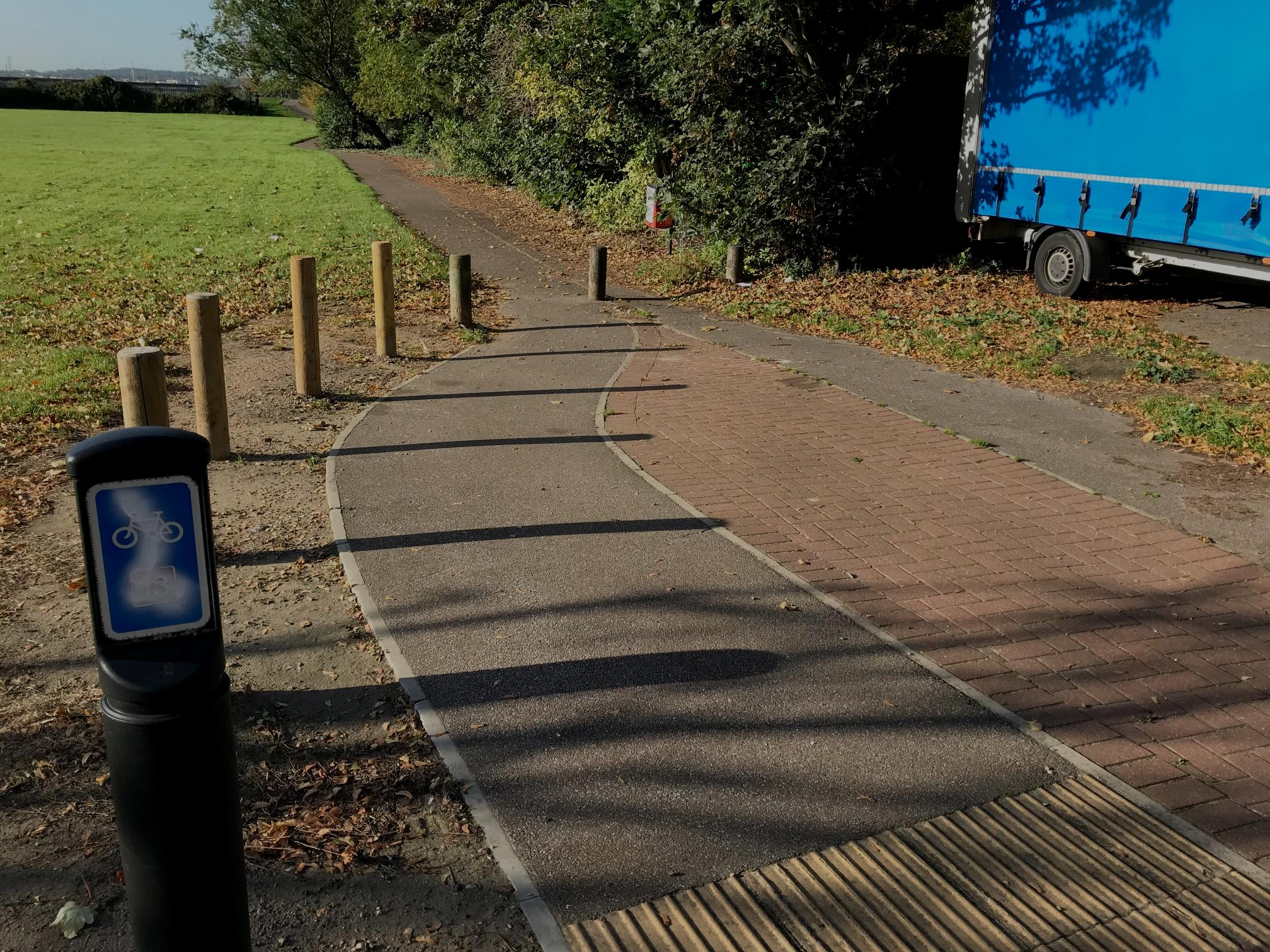 Timber bollards before