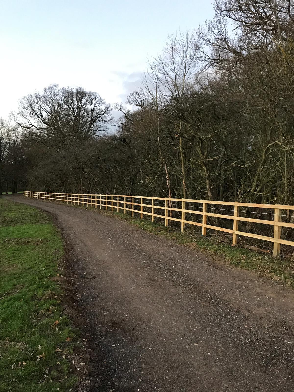 Post and 3 rail fencing