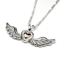 Sterling Silver Angel Wings & Heart Necklace (SALE - 27% OFF)