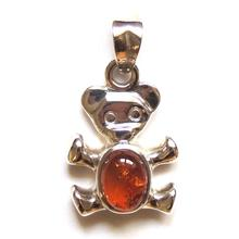 Sterling Silver Amber Teddy Bear Pendant