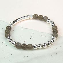 Labradorite & Silver Bead Bracelet