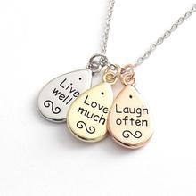 Live Love Laugh Sentiment Cluster Necklace