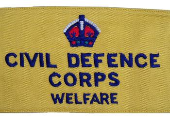 WWII Civil Defense Corps Welfare Arm Bands with Kings Crown