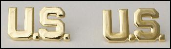 US Officers WWII Style Pair of U.S. Insignia Metal Collar Badges