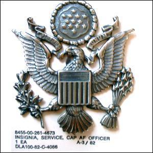 Genuine U.S. Army Officers Silver colour  Cap Badge