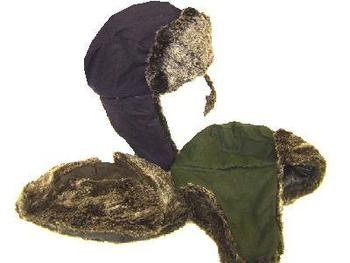 New Wax bomber hat with fur trim and ears in 2 colours