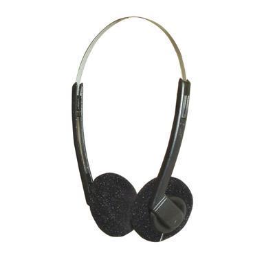Black Stereo Headphones with Adjustable Headband 1.2M Lead